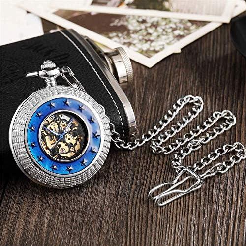 YXZQ懐中時計、レトロな中空機械式FOBチェーンブルーサラウンドスモールスターヴィンテージメンズレディースハンド巻き懐中時計