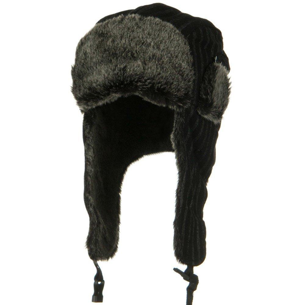ブレンドポリエステルピンストライプTrooper Hat – ブラックw28s63 a L  B007D48NLY