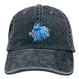 Boy's Female's HipHop Cap,Blue Betta Fish Denim Hat For Male Female Unisex