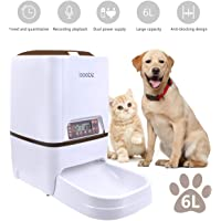 Iseebiz Automatic Cat Feeder 3L Pet Food Dispenser Feeder for Medium and Large Cat Dog——4 Meal, Voice Recorder and Timer Programmable,Portion Control …