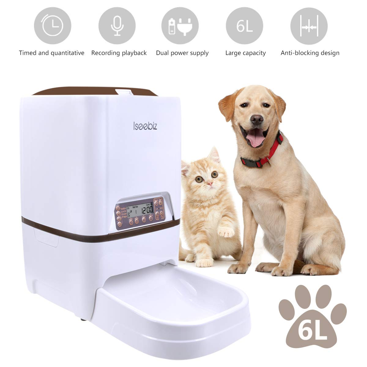 Automatic Dog Feeder, Iseebiz Dog Cat Feeder 6 Liter Food Dispenser with Voice Recorder,Feeding Portion and Timer Programmable, Portion Control,4 Meal a Day for Pet by Iseebiz