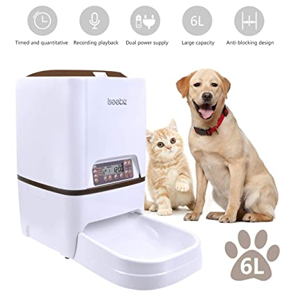 Automatic Dog Feeder Iseebiz 6 Liter Automatic Pet Feeder with Voice  Recorder Food Dispenser 4 Meal 2547f436d