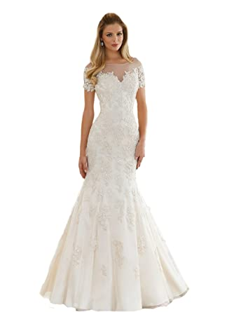 Engerla Women s Scoop Neck Lace Appliques Beaded See Through Back Vintage  Sheath Mermaid Wedding Dress with ebaf204b2d6d
