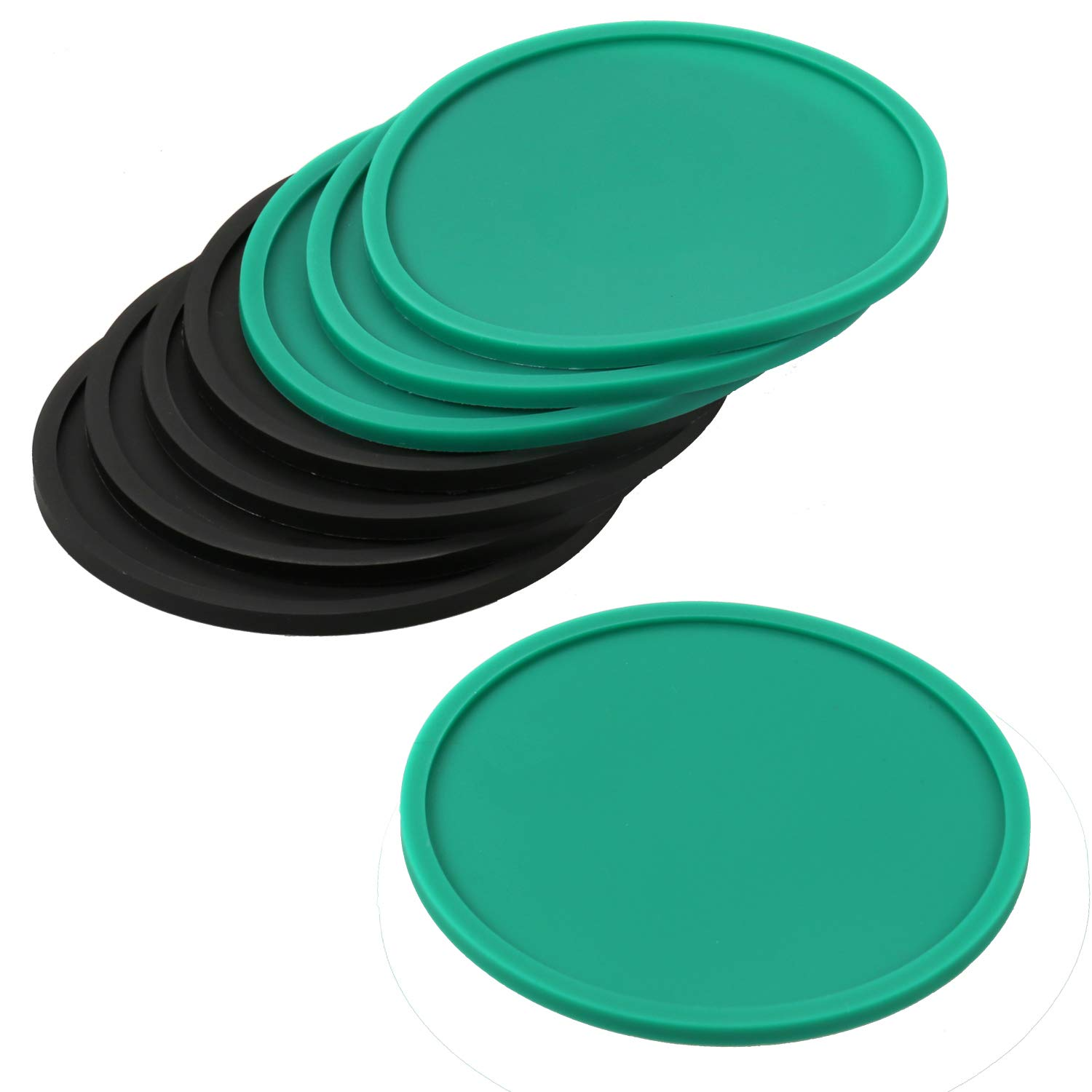 Silicone Coasters for Drinks,4'' Pack of 8 Round Non-slip Soft Rubber Cup Mat Pad (4pcs Black + 4pcs Green)
