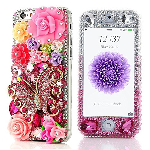 - Spritech(TM Fashion Cellphone Bling Case,3D Handmade Front and Back Crystal Flower Design Smartphone Cover for iPhone 6 4.7