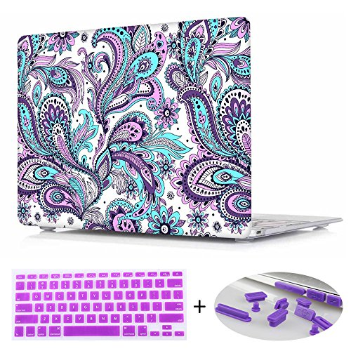 For Macbook Air 13.3, Print Crystal Hard Shell Cover case with Purple Keyboard and Dust plug For Macbook Air 13 Inch [ Models:A1466/A1369], Tribal ethnic