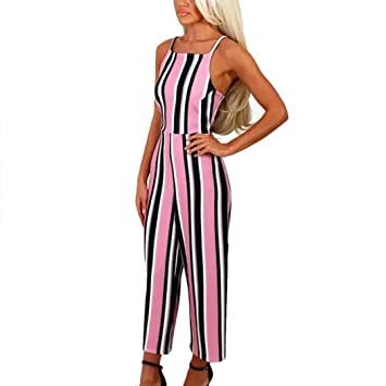 cfadb6d3bf37 Amazon.com  Fheaven Women Summer Strappy Sleeveless Striped Jumpsuit Casual  Clubwear Wide Leg Pants Outfit (XL