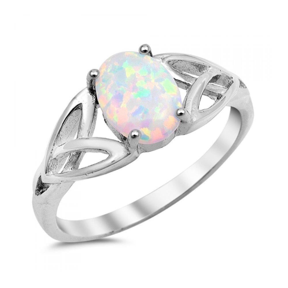 925 Sterling Silver Lab opal Gem Ring Glitzs 9368