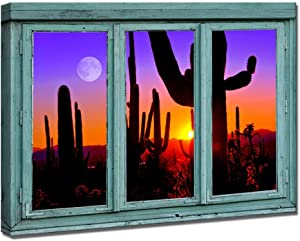 iKNOW FOTO Large Retro Canvas Prints Vintage Teal Window Frame Style Natural Landscape Paintings Wall Art Sunset with Saguaros in Sonoran Desert Artwork Pictures for Modern Home Decoration