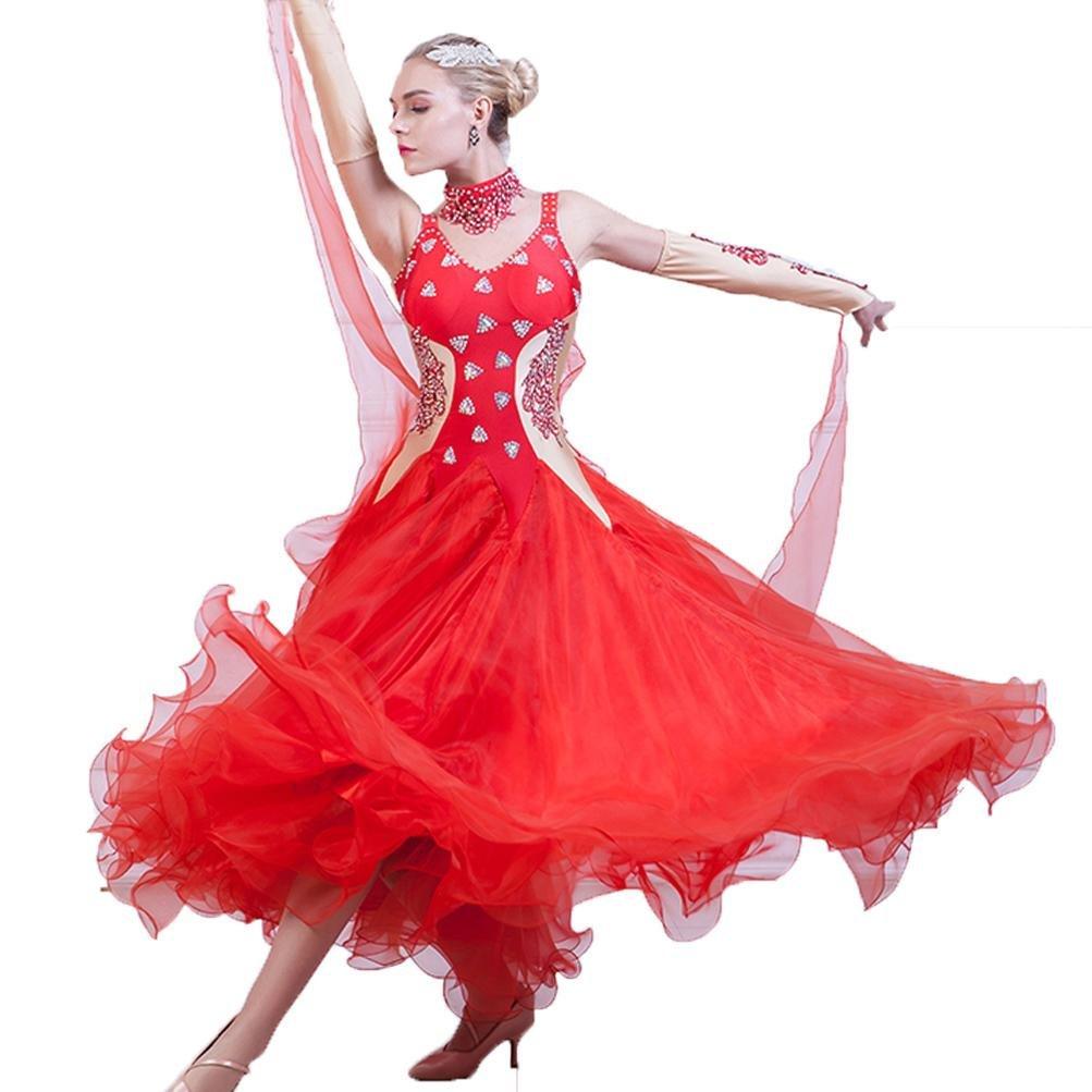 Wettbewerb Tanz Outfit Ballsaal Tanz Kleid Für Frauen mit Strass Walzer modern Tanzkostüm B07BSCQ5DV Bekleidung Hochwertige Produkte