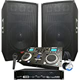 "Rock The House DJ System - 4100 WATT DJ System - Connect your Laptop, iPod, USB, MP3's or Cd's! 15"" Speakers, Amp, Mixer/Cd Player, Mic, Headphones."