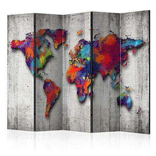 murando - Raumteiler Weltkarte - Foto Paravent 225x172 cm ...