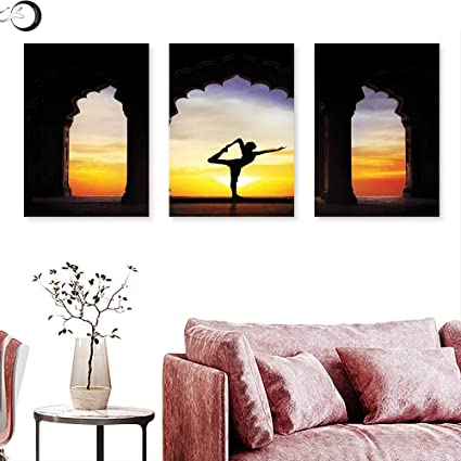 Amazon.com : Yoga Wall Art Oil Paintings Silhouette Doing ...