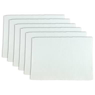 DII 100% Cotton, Ribbed 13x 19 Everyday Basic Placemat Set of 6, White