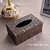 DEBON Creative Imitation Leather Tissue Paper Holder Box Fashion Paper Box, Suitable for Daily Use of Hotel, Living Room, Washroom, Car… (Ancient Egyptian Drawings)
