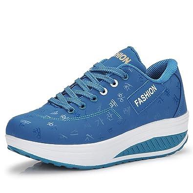 IOOI Damen Atmungsaktiv Netz Plateau Freizeitschuhe Sneaker Sportschuhe Walking Schuhe Blau fLBJSDi