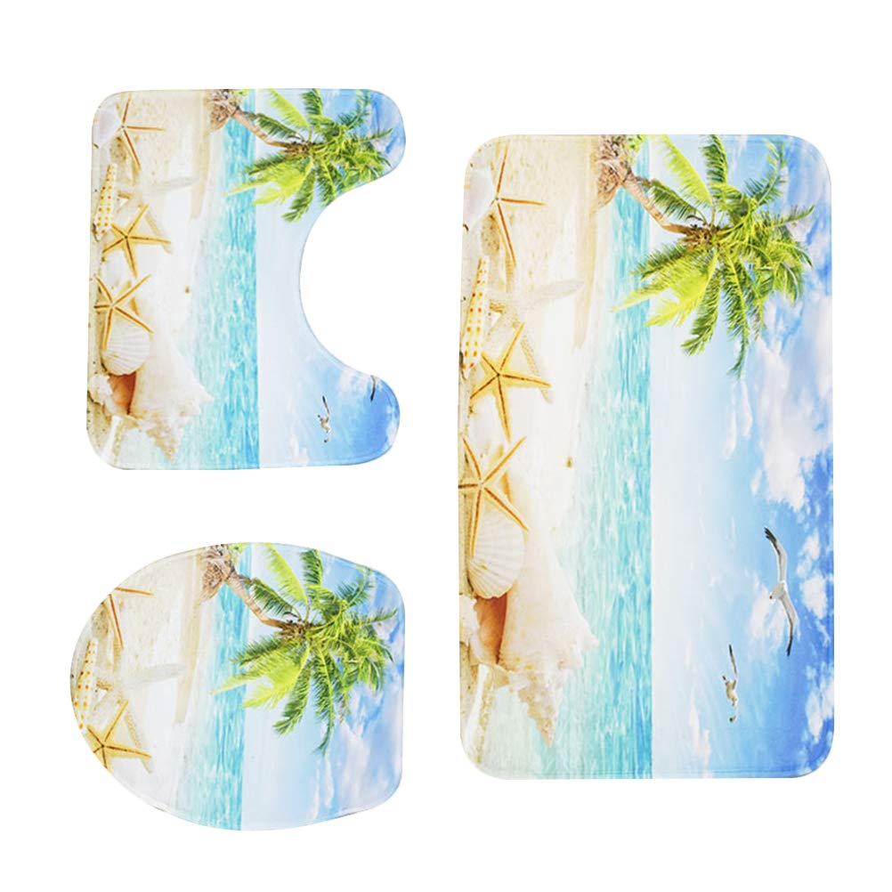 TOPBATHY Set of 3pcs Toilet Mat Set Printing Coconut Trees Pattern Antiskid Contour Mat Rug Carpet Toilet Seat Lid Cover Pad for Home Summer Beach Holiday Hotel Bath Decor : Beauty