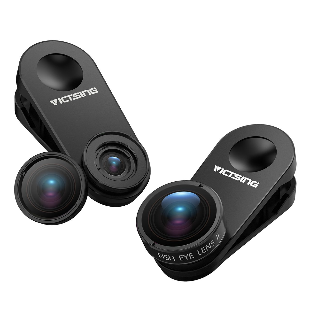 VicTsing 3 in 1 Clip-on Cell Phone Camera Lens Kit, 10X Macro Lens & 0.65X Wide Angle Lens & 180° Fisheye Lens for iPhone 8, 7, 6s, 6, 5s, Android & Most Smartphones