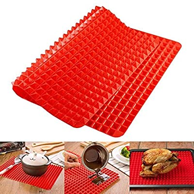 Silicone Baking Mat Red Pyramid Pan Surface Non-Stick Heat Resistant Healthy Cooking Tray Fat Reducing Sheet Oven Liner Set 16 Inches X 11.5 Inches by EG