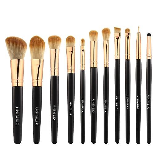 UNIMEIX 11 Pieces Makeup brushes Set Pro Synthetic Makeup Brush Contour Foundation Blending Eyeliner Eyeshadow Sponge Cosmetic Kits (Gold)