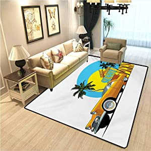 Retro Home Decor Mats Vintage Car in Magic City Miami with Exotic Coconut Trees Sunny Day Beach Soft Comfy Area Rugs for Bedroom Yellow Blue Orange W6.5xL9.8 Ft