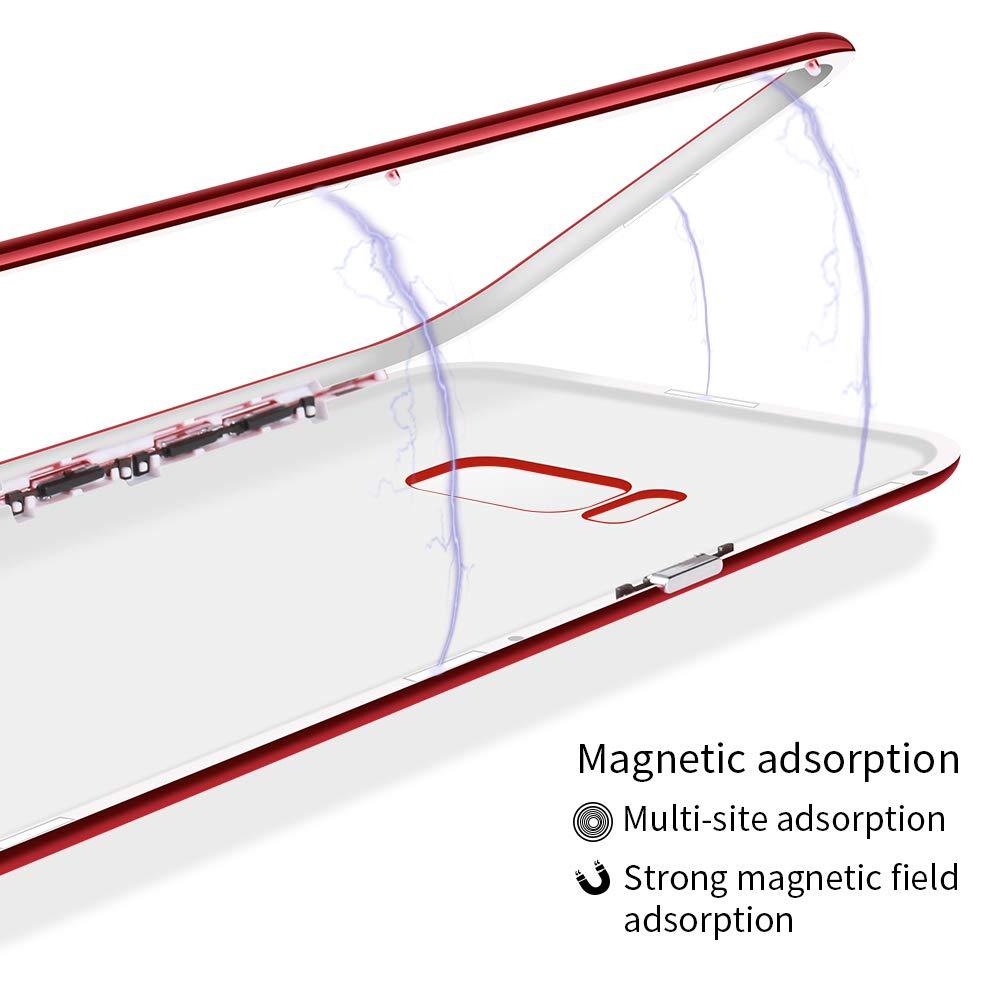 9H Geh/ärteter Glasfilm Sto/ßfest Bumper Matte Case 360 Grad Fullbody Handyh/ülle Hartschale Anti-Schock Sto/ßf/änger Cover Caler H/ülle Kompatibel Mit Samsung Galaxy S8 Magnet Rundumschutz H/ülle
