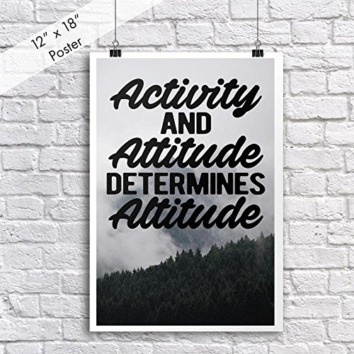 Jsc400 Activity And Attitude Determines Altitude Poster   18 Inches By 12 Inches   Motivational Inspirational   Premium 100Lb Gloss Poster Paper