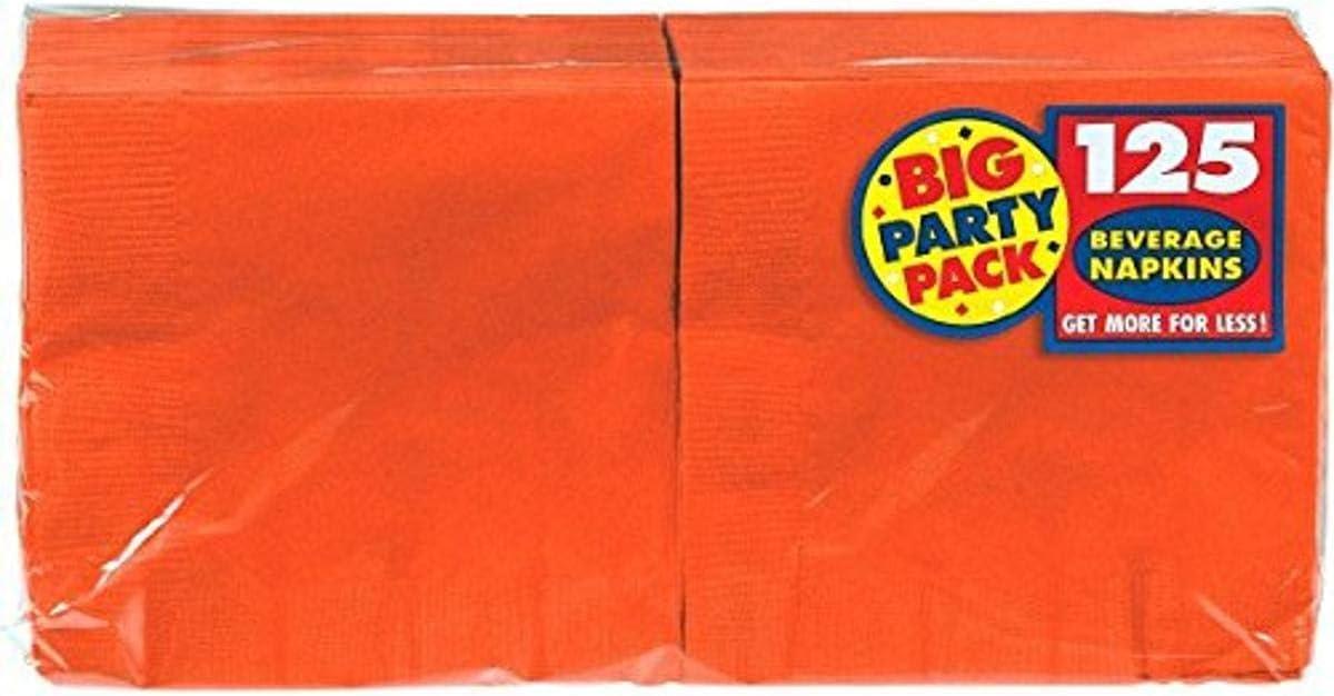 Big Party Pack Orange Peel Beverage Napkins | Pack of 125 | Party Supply