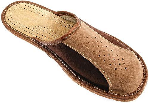 Nowbut Hausschuhe Herren Pantoffeln Natural 100% Leder Naturprodukt Offen Fester Sohle Komfort Bequeme Braun Weich Größe 41 42 43 44 45 46