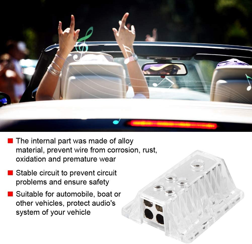 KIMISS Automobile Audio Power Supply Distribution Block 1 8GA Output 4GA Input 4
