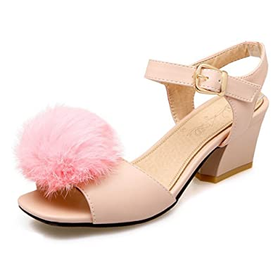 26f7c00c4f86 SFNLD Women s Sweet Pompon Square Toe Buckle Strap Medium Block Heels  Sandals Pink 4 B(