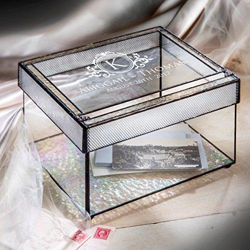 - Personalized Wedding Card Box for Reception Decorative Clear Engraved Glass Keepsake Display J Devlin Box 841 CBE 846
