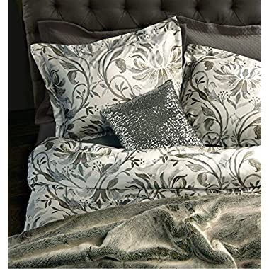 Nicole Miller Watercolor Leaf Scroll Luxury Duvet Cover Shams Bedding 4pc Set Silver Taupe Gray 300TC Cotton Floral Branches Shadow Damask Medallion with a Bonus Sequin Pillow Cover (Queen, White)