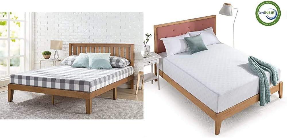 Zinus Alexia 12 Inch Wood Platform Bed with Headboard/No Box Spring Needed/Wood Slat Support/Rustic Pine Finish, Queen & 12 Inch Gel-Infused Green Tea Memory Foam Mattress, Queen
