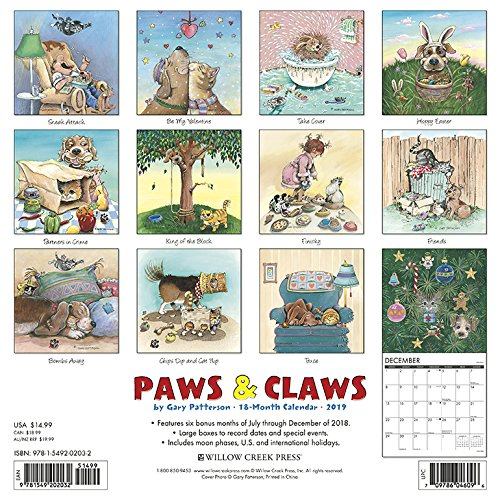 Gary Patterson's Paws n Claws 2019 Wall Calendar
