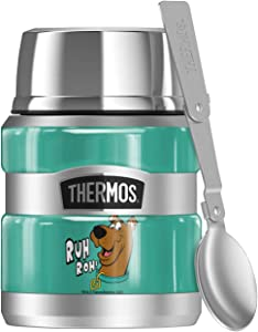 Scooby-Doo Ruh Roh Face, THERMOS STAINLESS KING Stainless Steel Food Jar with Folding Spoon, Vacuum insulated & Double Wall, 16oz