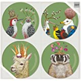 """Paperproducts Design 603149 7"""" Plate Set of 4 with Frolicking Friends Design Four Set, Multicolor"""