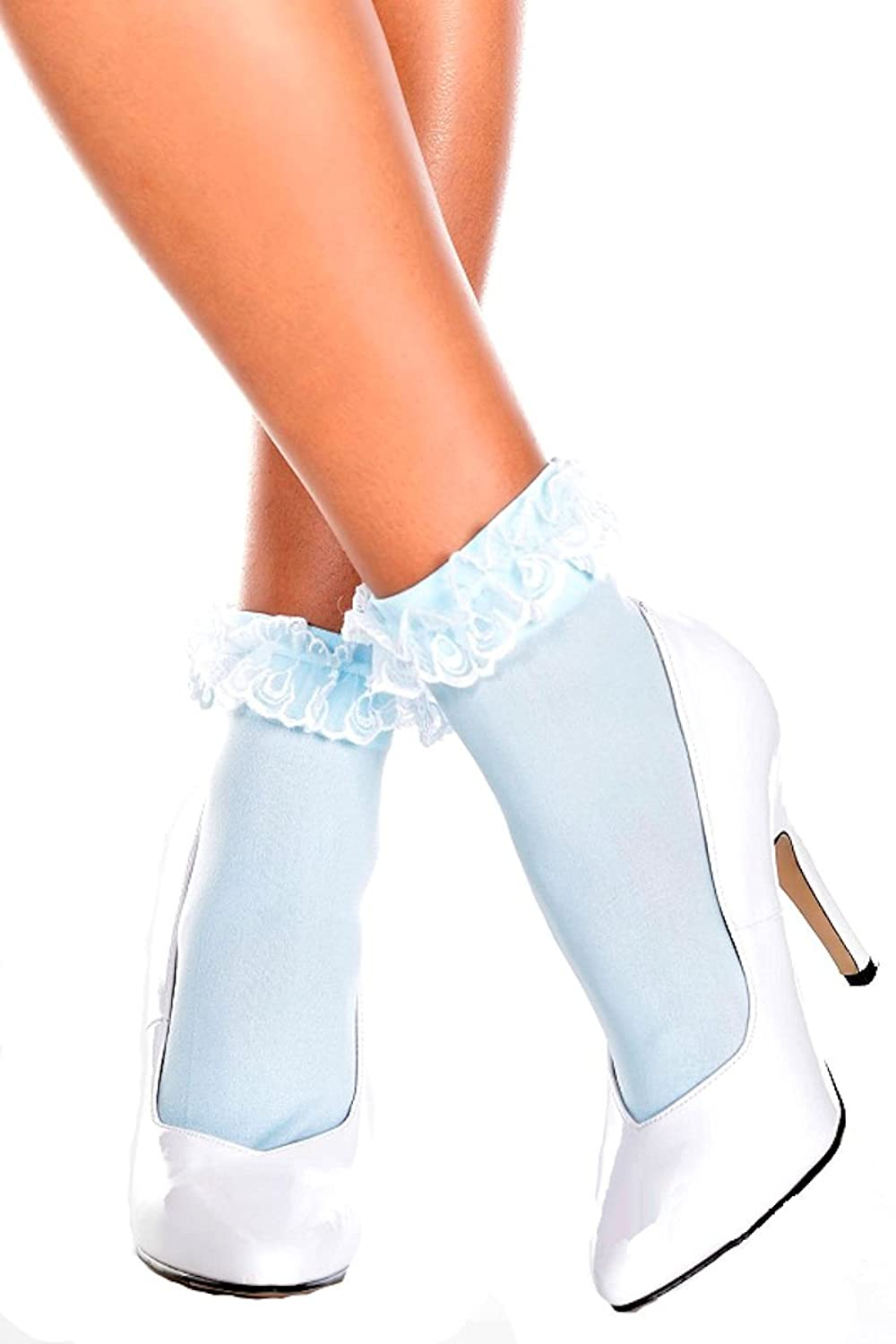 Vintage Socks | 1920s, 1930s, 1940s, 1950s, 1960s History Opaque Ankle Hi with Ruffle Lace Top $7.82 AT vintagedancer.com