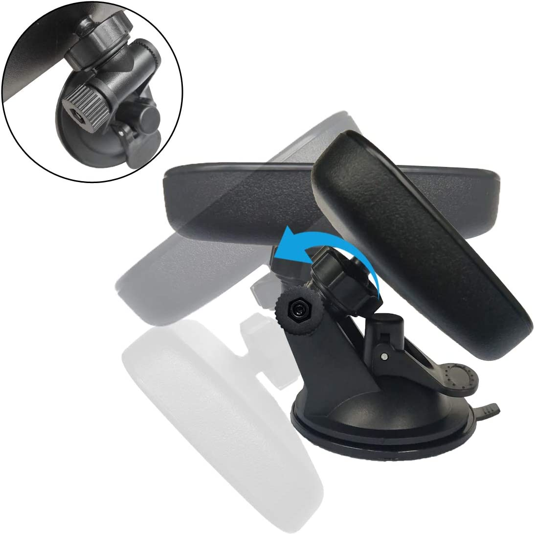240mm Wontolf Rear View Mirror Anti-Glare Suction Cup Rear View Mirror Universal Interior Rearview Mirror for Car Truck SUV 9.5