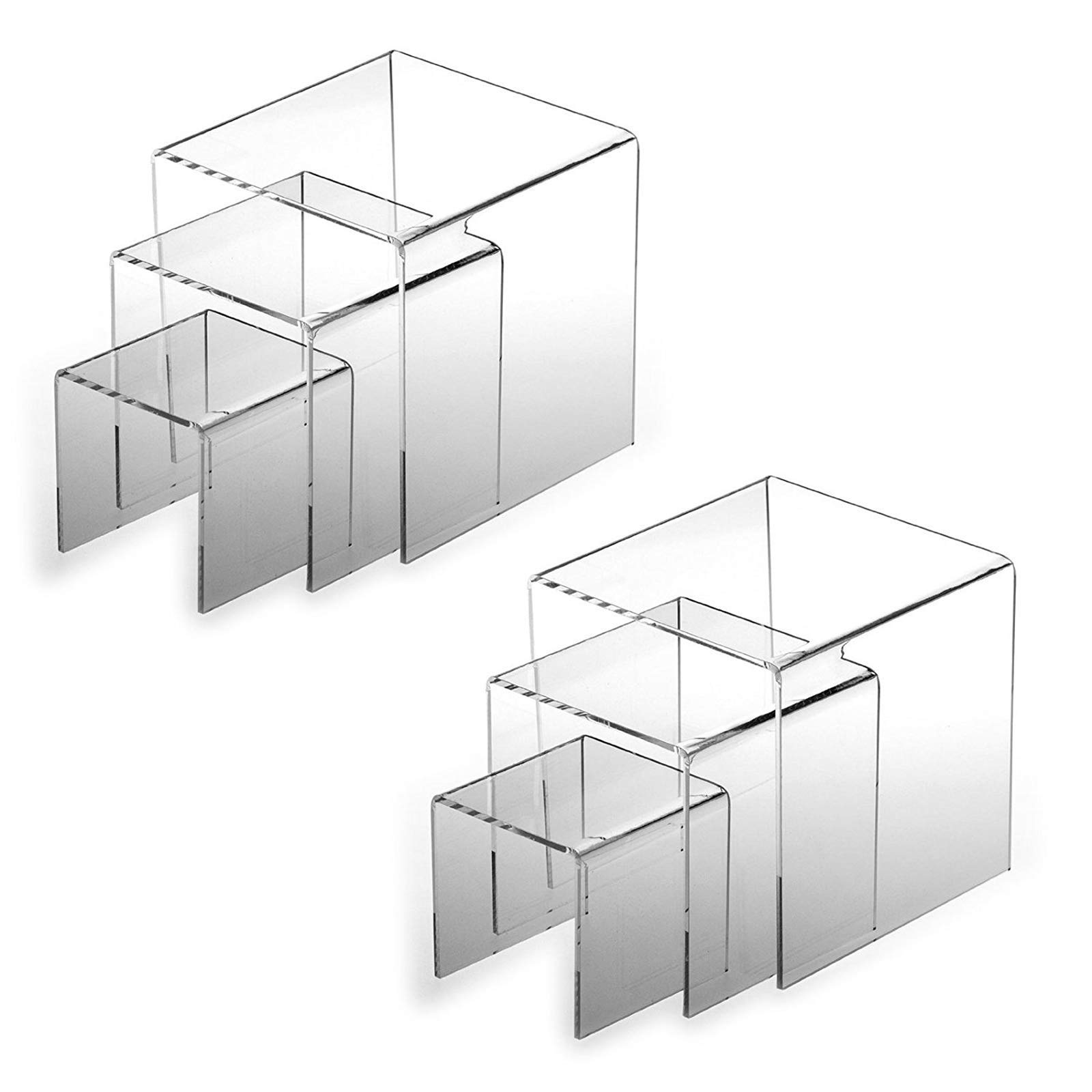 Tytroy Clear Acrylic Display Riser Step Stand Jewelry Showcase 3'' 4'' 5'' (2 Sets)