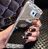 Galaxy S7 Edge Case,Inspirationc® Beauty Luxury Diamond Hybrid Glitter Bling Soft Shiny Sparkling with Glass Mirror Back Plate Cover Case for Samsung Galaxy S7 Edge--Silver Diamond