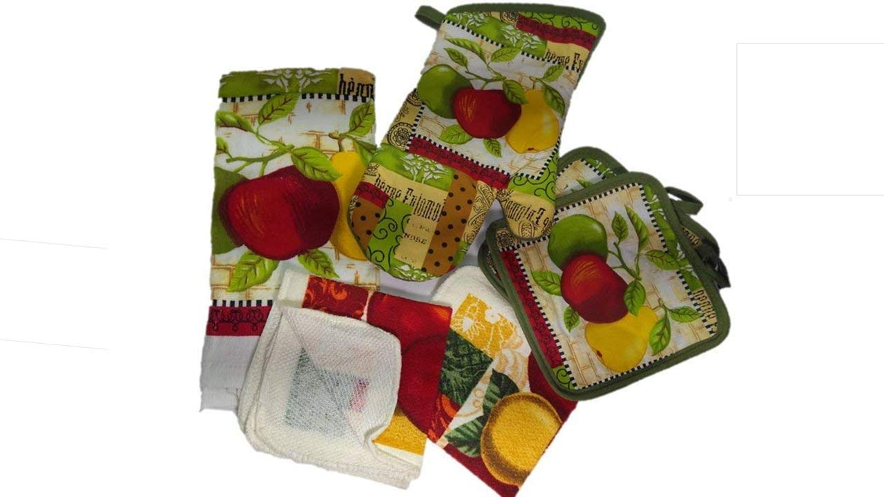 Kitchen Towel Linen Set of 6 Pieces Fruit Themed