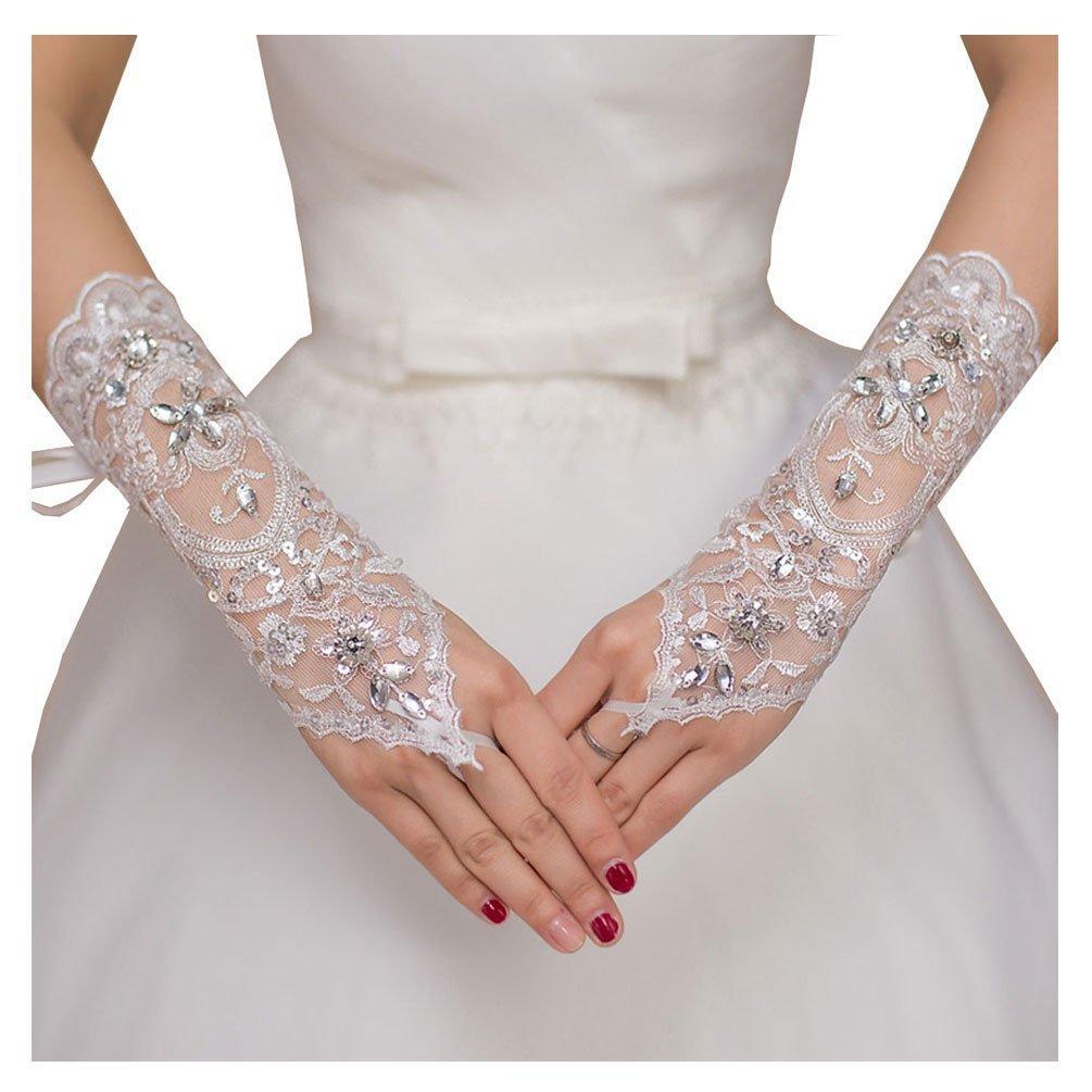BonusLife Womens Beaded Wedding Gloves Fingerless Lace Embroidered Bridal White Bonus Life