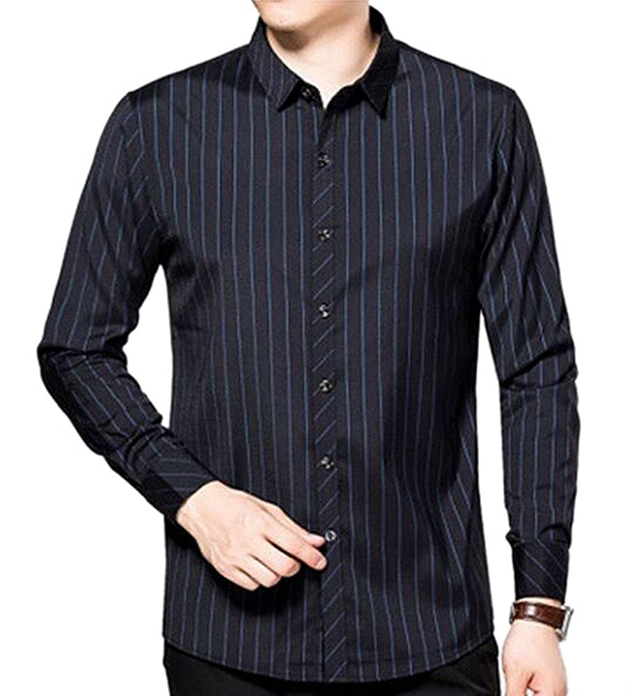 Hochock Mens Casual Vertical Stripes Cotton Long Sleeve Button Down Dress Shirt