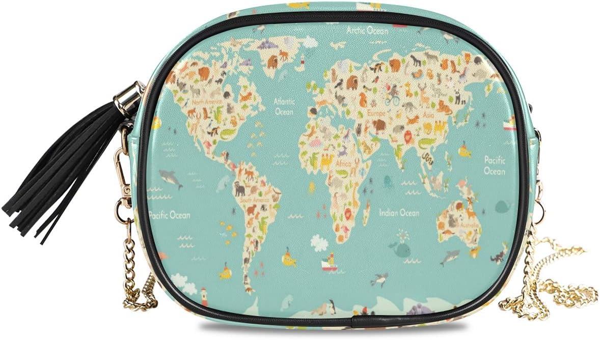ALAZA Map Animal Cartoon Cross Body Fashion Chain Bag Single Shoulder PU Leather Purse for Women Girls