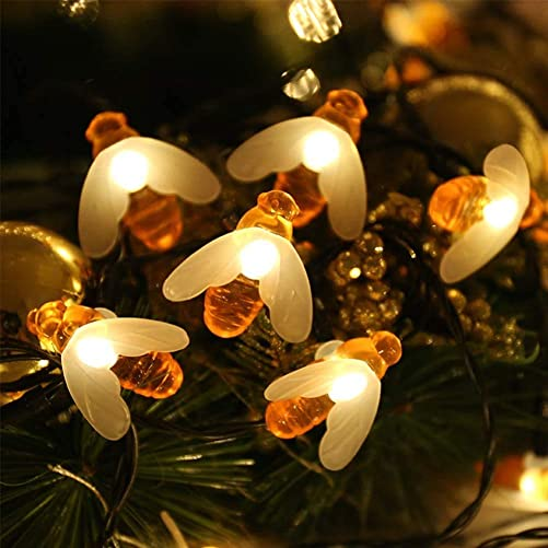 TIAQUN Solar String Lights 50 Led Waterproof Honey Bee Solar Fairy Lights,7m 8 Mode Garden Solar String Lights Outdoor Fairy Lights for Garden Decorations Flower Fence, Yard, Party, Wedding