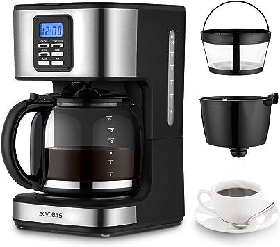 AEVOBAS Cafetera de Filtro, Cafetera de Goteo Programable para 12 Tazas, Máquina de café Filtro Permanente, Sistema anti-gotas, cierre automático (cafetera americano): Amazon.es: Electrónica