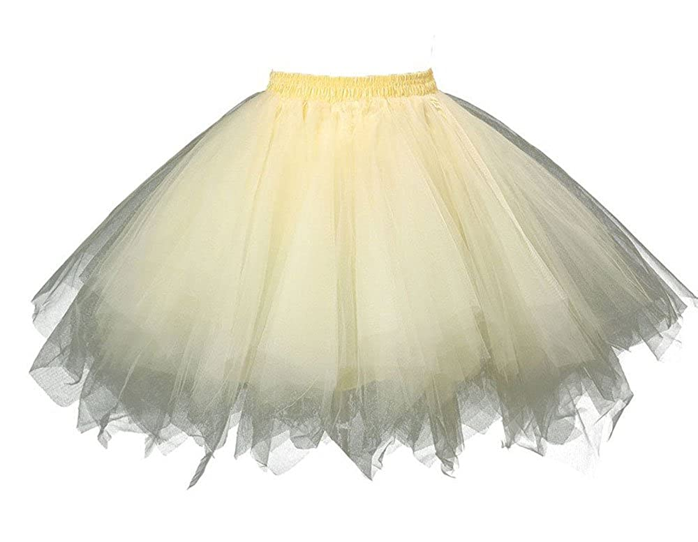 MsJune Womens 1950s Vintage Petticoats Crinolines Bubble Tutu Dance Half Slip Skirt
