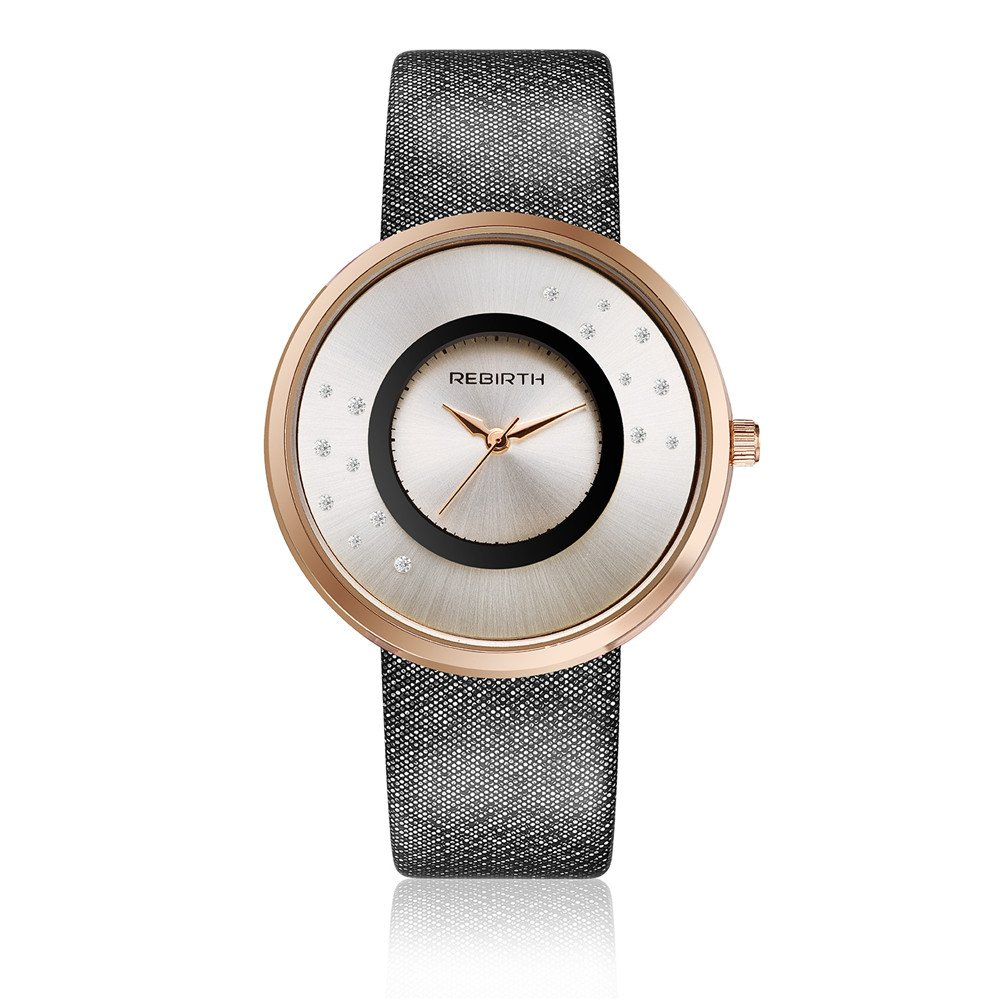 Rebirth Lady 'sファッションシンプルなスタイルダイヤモンド装飾ダイヤルクォーツ腕時計日常防水 1# B071YCJRWD1#