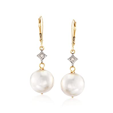 87e94df50 Image Unavailable. Image not available for. Color: Ross-Simons 10.5-11mm Cultured  Pearl Drop Earrings With Diamond Accents in 14kt Yellow